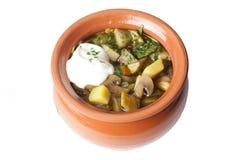 汤用在罐的蘑菇等概率圆 免版税库存图片