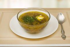 汤用新鲜的圆白菜和蘑菇 图库摄影