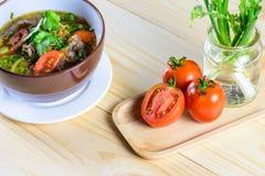 汤用牛肉、菜和骨头汤作为基地 库存照片