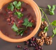汤用红豆和核桃 免版税库存照片