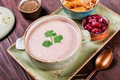 汤用肉、橄榄、草本、柠檬、酸性稀奶油在碗,黑面包和香料在黑暗的木背景, 免版税库存图片