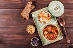 汤用肉、牛至、鸡豆、胡椒和菜服务用薄脆饼干和面包在板材在黑暗的木背景 免版税图库摄影