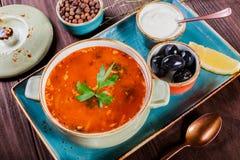 汤用肉,橄榄,草本,柠檬,在碗的酸性稀奶油,黑 库存图片