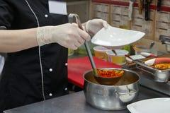 汤由菜做成和肉分配罐 免版税库存照片