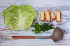 汤盘、油煎方型小面包片、调味料和匙子在厨房用桌上 免版税库存图片