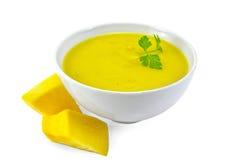 汤纯汁浓汤南瓜用荷兰芹 库存照片