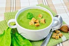 汤纯汁浓汤用菠菜和大蒜在织品 库存照片