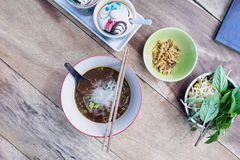 汤面用肉泰国食物 免版税库存图片