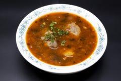 汤Shurpa 肉汤牛肉用胡椒和蕃茄 从中东,亚洲的传统盘 免版税库存照片