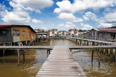 汶莱的著名的水村庄 免版税库存照片