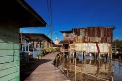 汶莱的首都著名的水村庄  库存图片