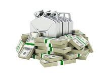 汽油价格的100美元财务资助概念围拢的气体罐供气在金钱的罐美国美金 向量例证