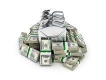 汽油价格的100美元财务资助概念围拢的气体罐供气在金钱的罐美国美金 库存例证