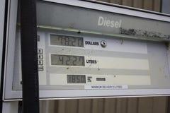 汽油定价在加油站泵浦的细节 库存图片