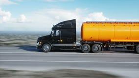 汽油罐车,油拖车,在高速公路的卡车 非常快速驾驶 现实4K动画 油概念 向量例证