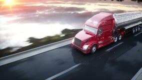 汽油罐车,油拖车,在高速公路的卡车 非常快速驾驶 现实4K动画 向量例证