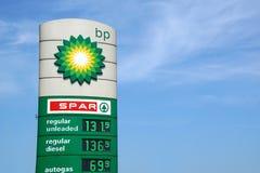 汽油价格标志 免版税库存图片