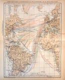 汽船航线老地图通过大西洋 库存照片