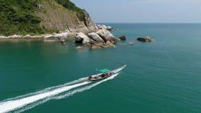 汽船风帆在海 秀丽自然风景 泰国 寄生虫录影 4K 股票视频