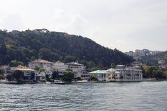 汽艇和游艇,大厦看法  库存照片