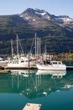 汽艇游艇风船口岸港口小游艇船坞Whittier阿拉斯加 免版税图库摄影