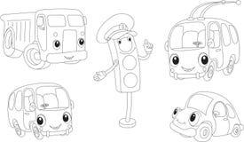 汽车、卡车、公共汽车、无轨电车和红绿灯 书五颜六色的彩图例证 免版税库存照片