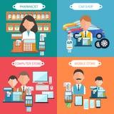 汽车、机动性、药剂师和计算机专卖店 免版税图库摄影