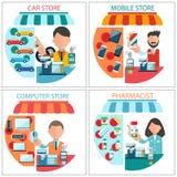 汽车、机动性、药剂师和计算机专卖店 免版税库存图片