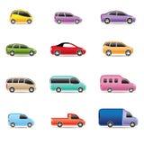 汽车不同的图标类型 免版税库存照片