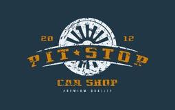 汽车与破旧的纹理的商店徽章 向量例证