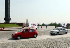 汽车为保存和平的集会`以记念1941-1945 `巨大爱国战争的地球上在Poklonnaya小山 免版税图库摄影