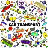 汽车交通线艺术设计传染媒介例证 免版税库存照片