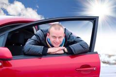 汽车他的人年轻人 免版税库存照片