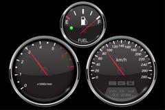 汽车仪表板被设置的黑色测量仪 车速表,车头表,汽油表 向量例证
