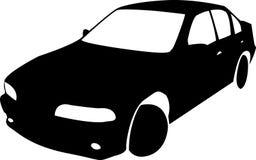 黑汽车传染媒介剪影  免版税图库摄影