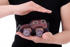 汽车保护的妇女 图库摄影