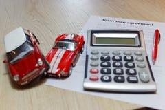 汽车保险政策安全覆盖面事故要求风险 免版税库存照片