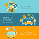 汽车修理公司和洗涤平的样式网infographics模板 免版税库存照片