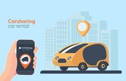 汽车共用模式服务例证 都市风景背景、geolocation、汽车和智能手机在手中 网上出租车 库存例证