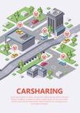 汽车分享或合伙使用汽车服务infographic停车处的地点的等量汽车共用模式地图例证3d 库存例证