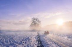 汽车剪影通过雾在一个冬天早晨 库存图片