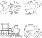 汽车动画片色的多玩具运输 书五颜六色的彩图例证 免版税库存图片