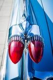 汽车卡迪拉克Coupe de Ville的后方翼和刹车灯的细节, 1959年 免版税库存图片