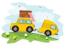 汽车和有蓬卡车 库存照片