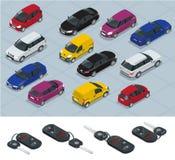 汽车和汽车钥匙象 汽车钥匙 平的3d等量传染媒介优质城市运输汽车象集合 汽车,搬运车,货物 免版税库存图片