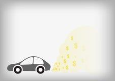 汽车和美元在烟的标志 免版税图库摄影
