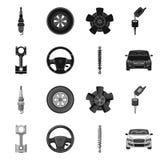 汽车和部分标志的传染媒介例证 汽车和汽车股票简名的汇集网的 向量例证