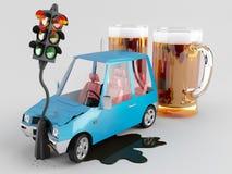 汽车和酒精 库存例证