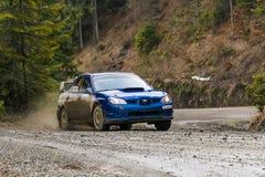 汽车品牌的没有的Subaru Impreza WRX未知的竟赛者 4 overco 免版税库存照片