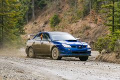 汽车品牌的没有的Subaru Impreza WRX未知的竟赛者 4 overco 库存图片
